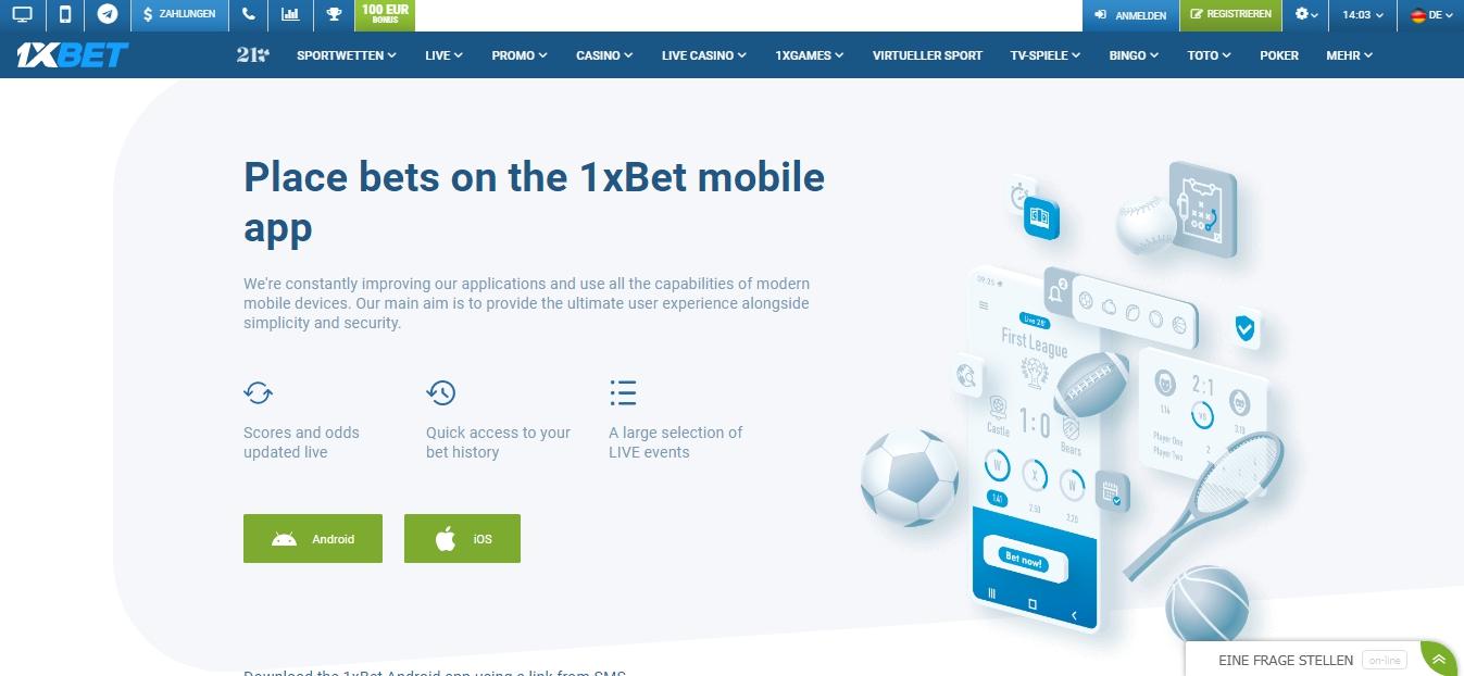 Bonus 1xBet und mobile Apps